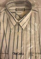 Men's Oleg Cassini Thin Stripes Short Sleeve Dress Shirt Size XL 17