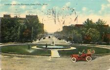 Great Falls Montana~Vintage Car Circles Fountain~Welcome Banner~1911
