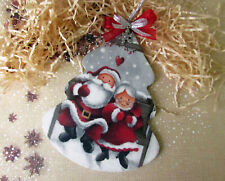 Handcraft Christmas Tree Ornament Xmas Tree Santa Claus Navidad Wood Home Decor