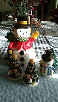 Snowman, napkin holder and Christmas tree salt & pepper shakers