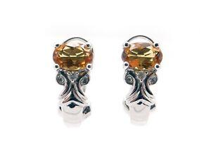 14k White Gold 1ct Oval Citrine Round Diamond Hoop Huggie Earrings