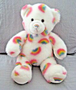 """Build a Bear Summer Season of Hugs Plush Bear White w/ Rainbows 15"""" Soft & Clean"""