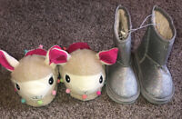BOBBIE BROOKS NEW W/ TAGS YOUTH GIRLS SIZE 2/3 Llama Slippers & Size 2 Boots