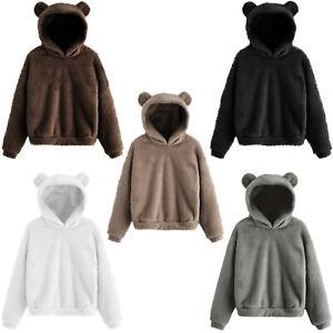 Women Warm Sweatshirt Pullover Hoodie Faux Fur Teddy Bear Jacket Coat Outerwear
