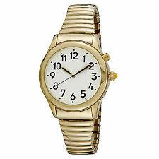 Timeoptics Men's Talking Gold-tone Day Date Alarm Flex Band Watch # Gwc020gt