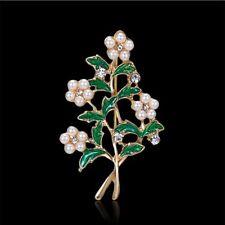 Brooch Lapel Pin Girl Fashion Jewelry Rhinestone Flower Shape Pearl Alloy Enamel
