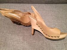 "Pura Lopez ""Zam607"", light brown, Size EU 39, Wood platform leather slingbacks"