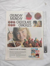 Kellogs Rice Bubbles Cadbury's Cocoa Choclate Crackles Full Page Advertisement