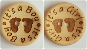 LUXURY WOODEN IT'S A GIRL / BOY BUTTONS - 15mm, 20mm, 25mm, NEW BABY, EXPECTING