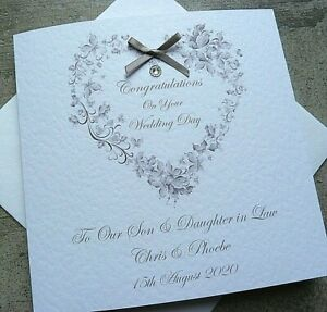 """Personalised Handmade Congratulations Wedding Day Card 6"""" Square Floral Heart SA"""