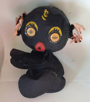 Vintage black inflatable toy novelty doll mid century googly blinking eyes!