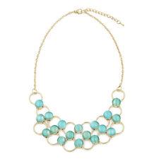 Elegant Gold Tone Resin Pearl Pendant Bib Statement Fashion Necklace-Diff Colors