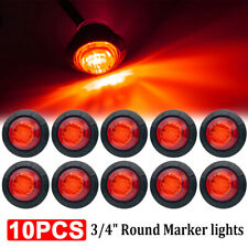 """10X 3/4"""" Red Small Round Side Marker lights 3LED Button lamps Truck Lorry RV 12V"""