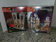 NIB Sealed Puzz3D Neuschwanstein Castle Puzzle 834 pcs Wrebbit + Notre Dame 366
