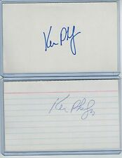 (2) KEN PHELPS INDEX CARD SIGNED 1989 WS CHAMPS OAKLAND A'S PSA/DNA CERTIFIED