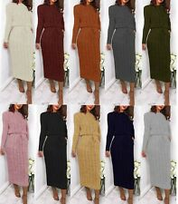 Women's Cable Knitted Jumper Dress Ladies Pocket Tie up Long Midi Dresses New
