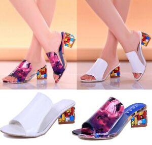 New Womens Summer Rhinestone Sandals Slippers Diamond High Heels Sandals Shoes