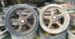 "Vintage Cast Iron Wagon/ Cart Wheels Pair 12.5"" Diameter x 2.5in  Train Cart"