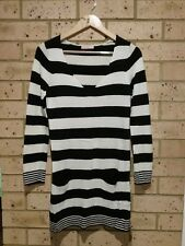Black and White Stripe V-Neck Long Sleeve Jumper Dress, Supré, Ladies S, Acrylic