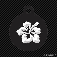 Hibiscus Flower Keychain Round with Tab dog engraved many colors hawaii hawaiian