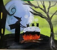 PRIMITIVE FOLK ART PAINTING HP On Pine Black Cats Witch Halloween Tub Moon