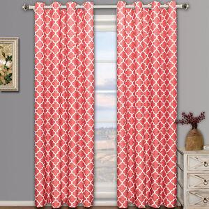 Meridian Room-Darkening Top Grommet Thermal Insulated Window Curtains - 2 Panels