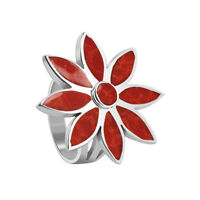 925 Sterling Silver Coral Floral Design Ring Size 4.5 - 9.5