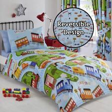 TRACKS TRAINS STEAM ENGINES SINGLE DUVET COVER SET BOYS - 2 IN 1 DESIGN
