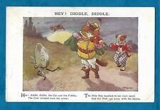 1932 PC A. E. KENNEDY HEY! DIDDLE DIDDLE - CAT, DOG & DISH WITH SPOON