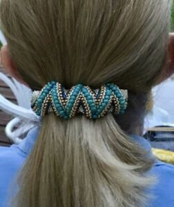Turquoise /& Silver Beaded Hair Barrette