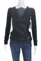 Bailey 44 Womens Long Sleeve Mesh Boat Neck Blouse Black Size Small