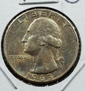 1963 P 25C Washington Quarter Silver Coin AU / UNC Neat Toning