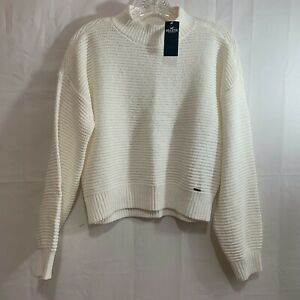 Hollister Womens NWT Chenille Mockneck Sweater in Cream Size XS