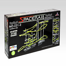 SpaceRail Level 2G Marble Roller Coaster Steel Balls Spacewarp Glow Illuminate