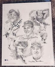 Mickey Mantle, Willie Mays, And Duke Snider Multi-Signed Lithograph Beckett Loa