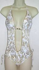 Rampage 1 PC Halter Swimsuit White/Gold Size Large NWT