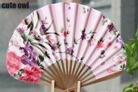 Chinese Hand Held Fan Bamboo Silk Butterfly & Flower Folding Fan Wedding Decor