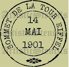 STENCIL Vintage French Eiffel Tower Postage Stamp  10x10 FREE US SHIPPING