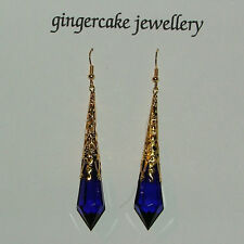 LONG DEEP BLUE VICTORIAN STYLE EARRINGS GOLD PLATED FILIGREE ACRYLIC FP