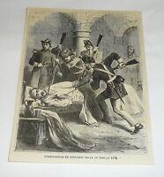 1879 magazine engraving ~ ASSASSINATION OF PRESIDENT BALTA OF PERU