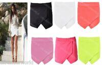 Ladies Womens Plain Neon Skorts Shorts Skirt Wrap Adults Culottes Hot Pants 8-14