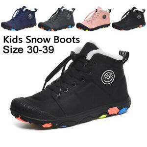 Boys Girls Winter Snow Boots Youth Fur Lined Warm Outdoor Junior  Ankle Shoes UK