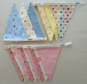 Baby Nursery Bunting Pink Blue Lemon Cute 9 Flags 19cm Approx Length 160cm