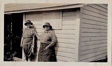 Old Vintage Antique Photograph Two Women in Cool Outfits Holding Fish on String