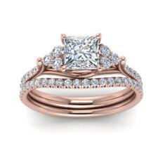 2.60 Ct Princess Diamond Wedding Band Set Solid 14K Rose Gold Ring Size 5 6 7 8