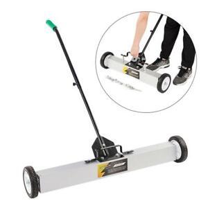 "36"" Magnetic Floor Sweeper Metal Scrap Screw Rolling Pick Up Roller Push Broom"