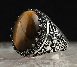 Tiger Eye Mens Ring 925 Sterling Silver Turkish Men Ring Gemstone Ring Size 7-13
