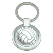 Volleyball Classy Round Chrome Plated Metal Keychain