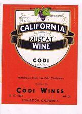 1940s California Livingston CODI CALIFORNIA MUSCAT WINE label