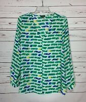 Vince Camuto Women's M Medium White Green Long Sleeve Casual Career Top Blouse